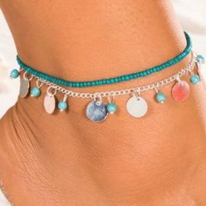 Jewelry - Silver Beaded Anklet Set NEW